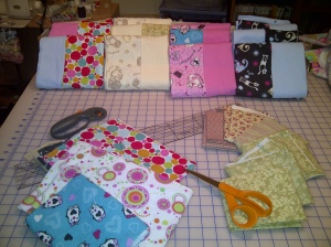 Completed flannel pillowcases for Operation Slumber Party and Light Up the Night